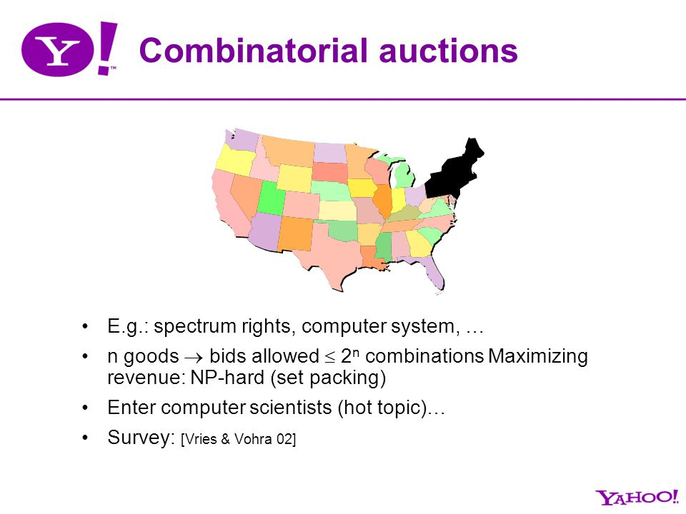 Combinatorial auctions E.g.: spectrum rights, computer system, … n goods bids allowed 2 n combinations Maximizing revenue: NP-hard (set packing) Enter