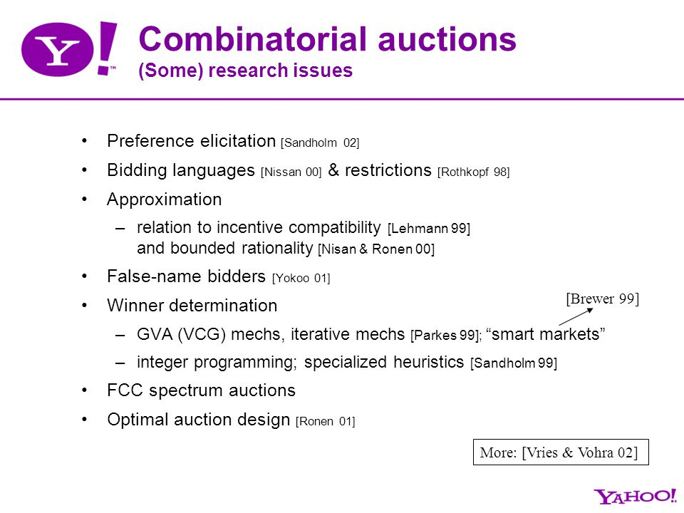 Combinatorial auctions (Some) research issues Preference elicitation [Sandholm 02] Bidding languages [Nissan 00] & restrictions [Rothkopf 98] Approxim
