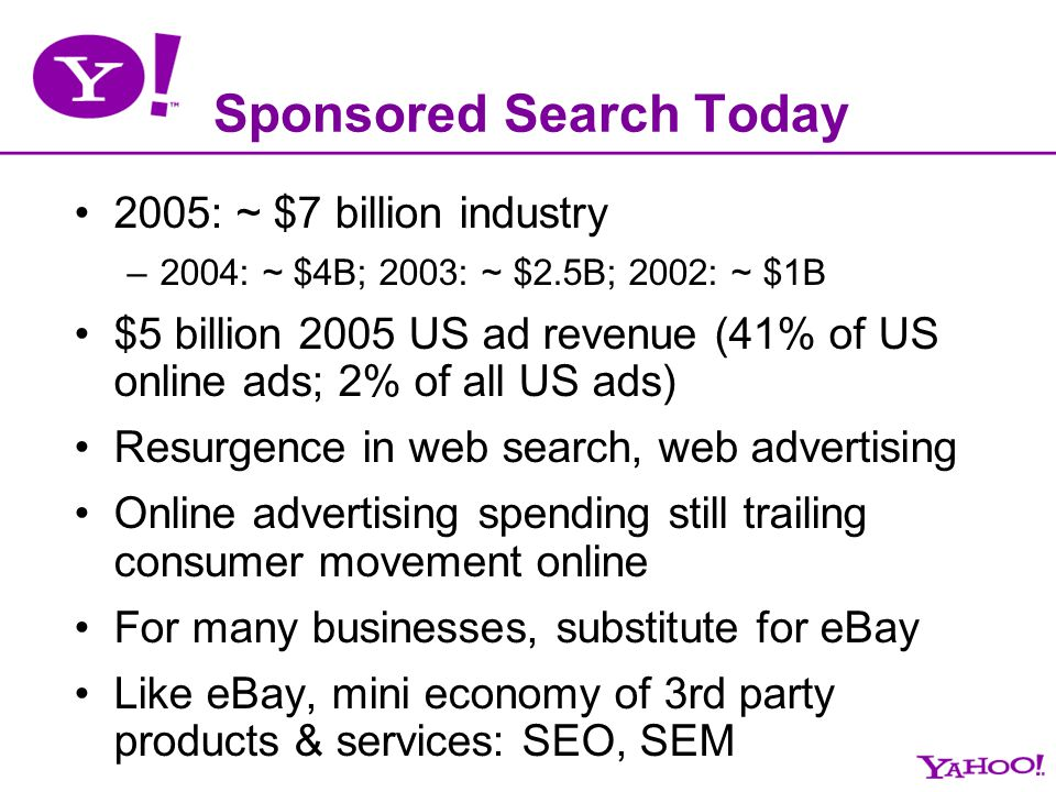 Sponsored Search Today 2005: ~ $7 billion industry –2004: ~ $4B; 2003: ~ $2.5B; 2002: ~ $1B $5 billion 2005 US ad revenue (41% of US online ads; 2% of