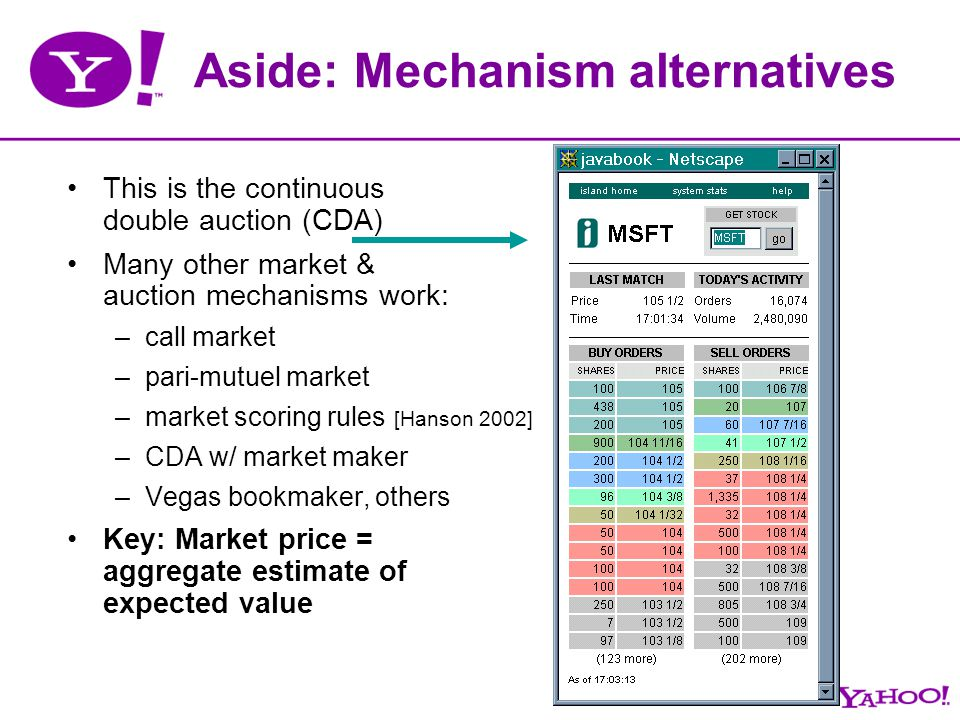 Aside: Mechanism alternatives This is the continuous double auction (CDA) Many other market & auction mechanisms work: –call market –pari-mutuel marke