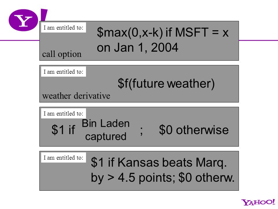 $1 if ;$0 otherwise I am entitled to: Bin Laden captured $max(0,x-k) if MSFT = x on Jan 1, 2004 I am entitled to: call option $f(future weather) I am