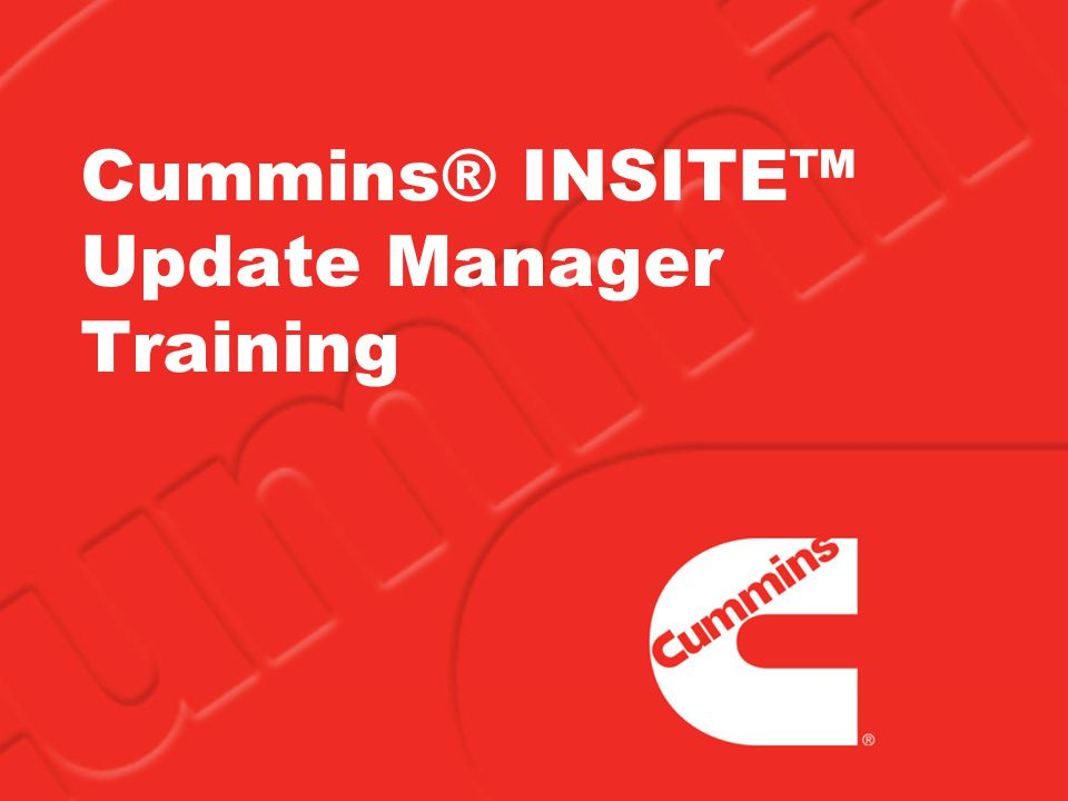 2 Cummins ® INSITE Update Manager Overview Released with INSITE v7.3 in May 2009 Provides up-to-date information for INSITE –Fault Information System (FIS) files –Help and Manual files –Feature Packs –Service Packs Provides an Automatic Update Notification Alert when updates are available through the internet