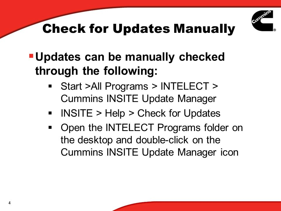 5 Get Updates From Internet/CD 2.Select Get Updates 1.Chose Update From Internet or CD Option