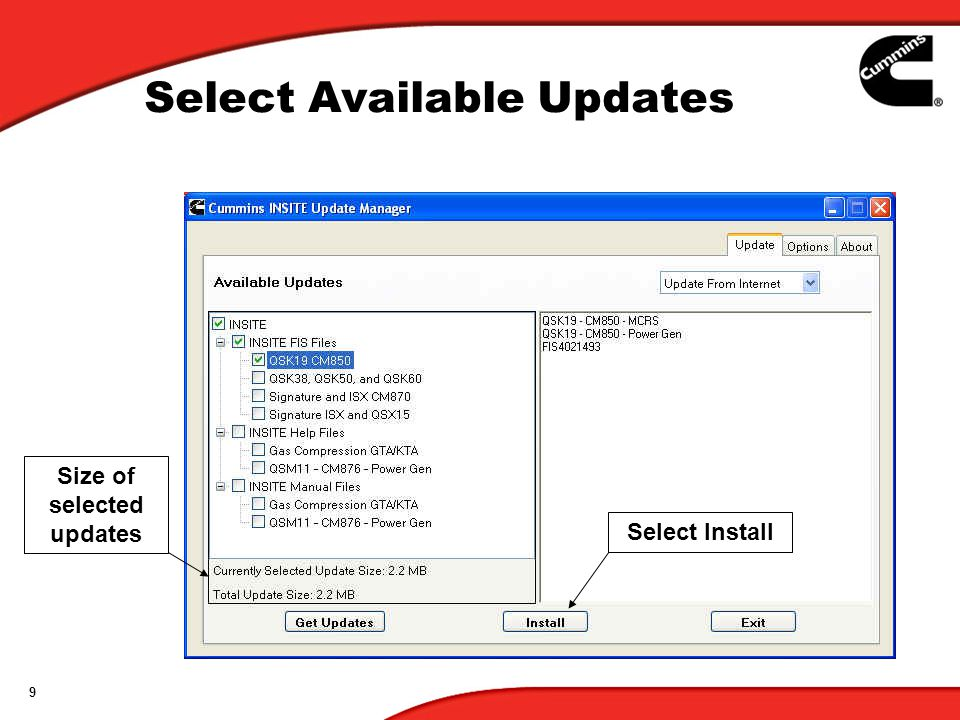 9 Select Available Updates Select Install Size of selected updates
