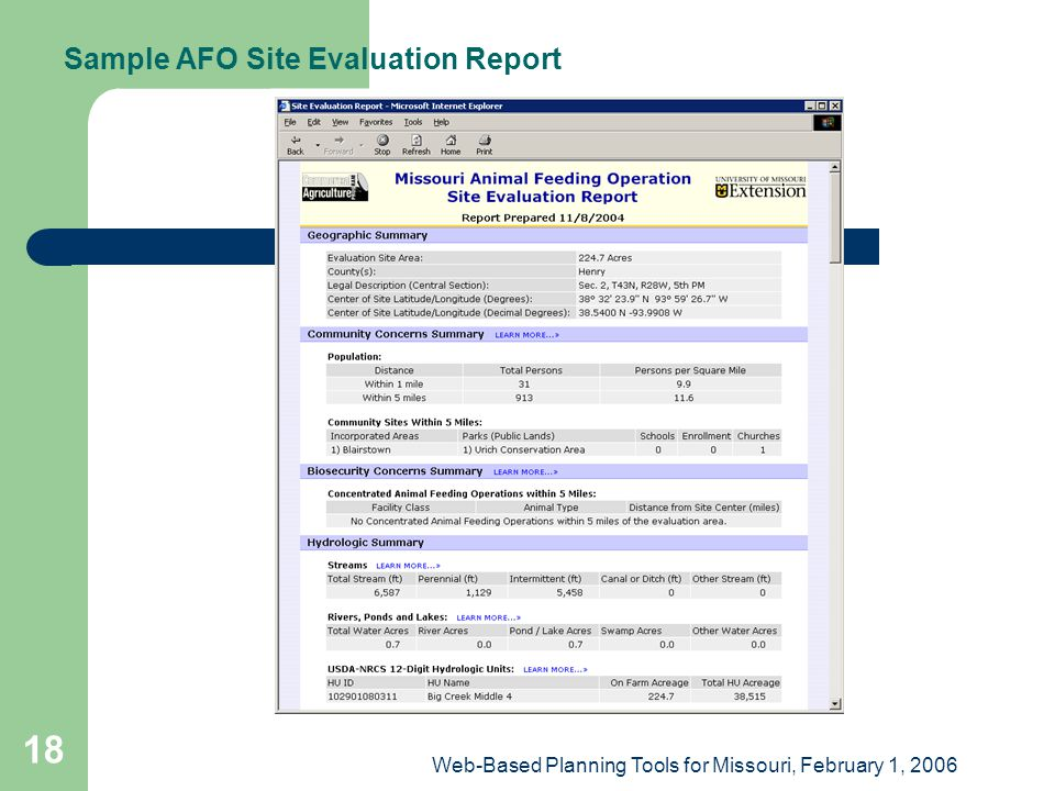 Web-Based Planning Tools for Missouri, February 1, 2006 18 Sample AFO Site Evaluation Report