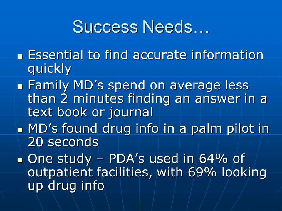 Success Needs… Essential to find accurate information quickly Essential to find accurate information quickly Family MDs spend on average less than 2 m