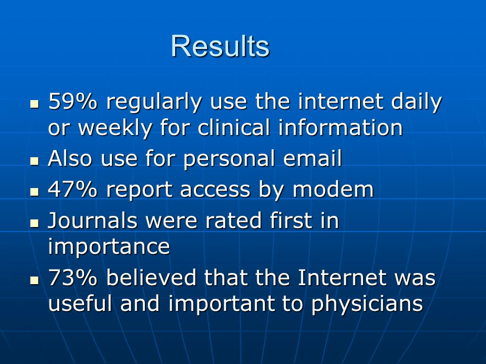 Results 59% regularly use the internet daily or weekly for clinical information 59% regularly use the internet daily or weekly for clinical informatio