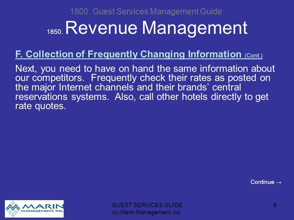 GUEST SERVICES GUIDE (c) Marin Management, Inc
