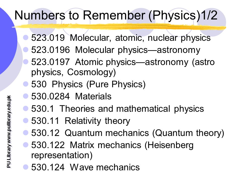 PU Library www.pulibrary.edu.pk Numbers to Remember (Physics)1/2 523.019 Molecular, atomic, nuclear physics 523.0196 Molecular physicsastronomy 523.01
