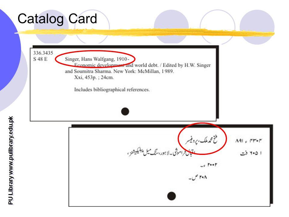 PU Library www.pulibrary.edu.pk Catalog Card