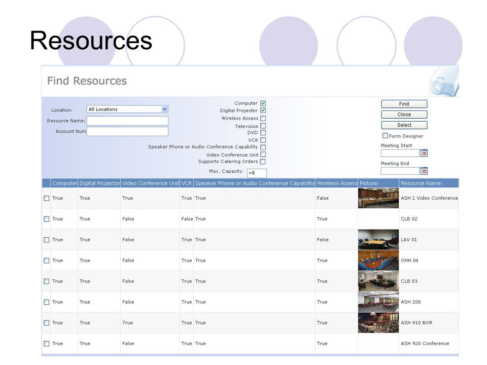 Find Resources To find the room that suits your needs, click Find Resources.