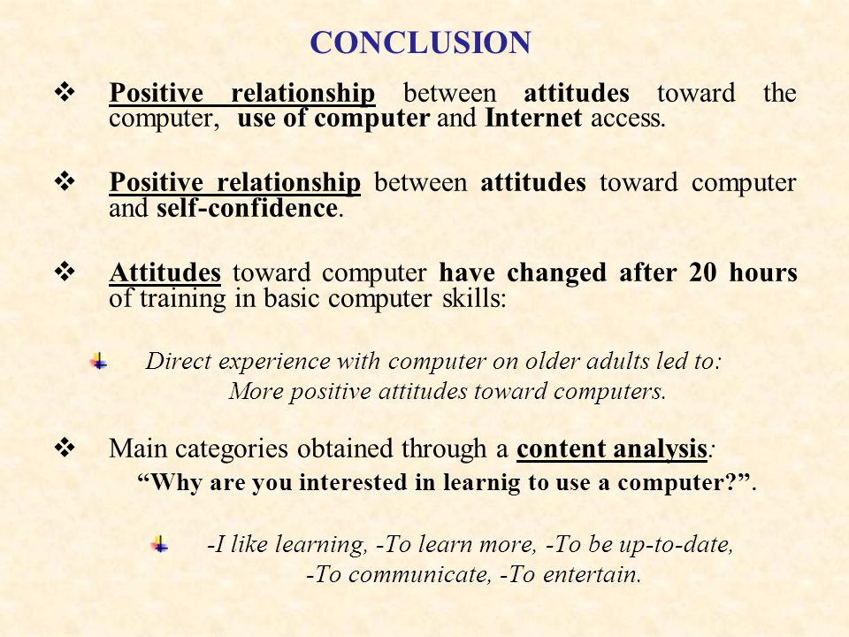 CONCLUSION Positive relationship between attitudes toward the computer, use of computer and Internet access.