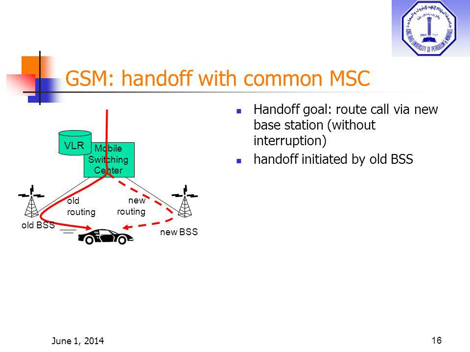 June 1, 201416 Mobile Switching Center VLR old BSS new BSS old routing new routing GSM: handoff with common MSC Handoff goal: route call via new base