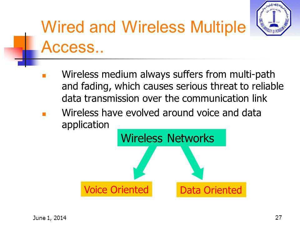 June 1, 201427 Wired and Wireless Multiple Access.. Wireless medium always suffers from multi-path and fading, which causes serious threat to reliable