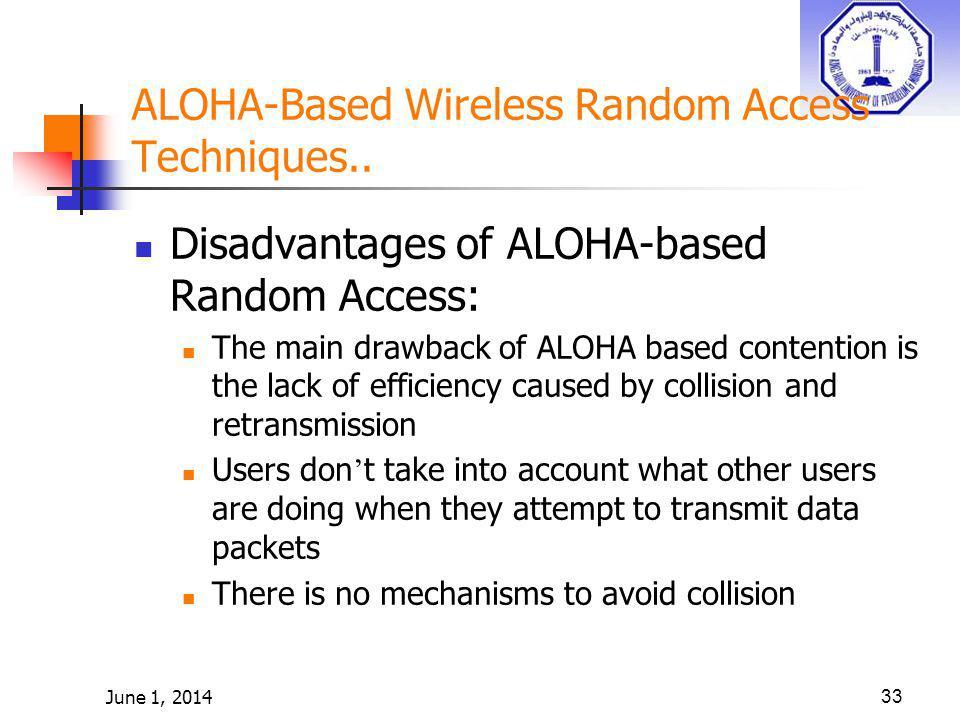 June 1, 201433 ALOHA-Based Wireless Random Access Techniques.. Disadvantages of ALOHA-based Random Access: The main drawback of ALOHA based contention