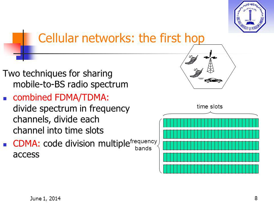 June 1, 20149 Cellular standards: brief survey 2G systems: voice channels IS-136 TDMA: combined FDMA/TDMA (north america) GSM (global system for mobile communications): combined FDMA/TDMA most widely deployed IS-95 CDMA: code division multiple access