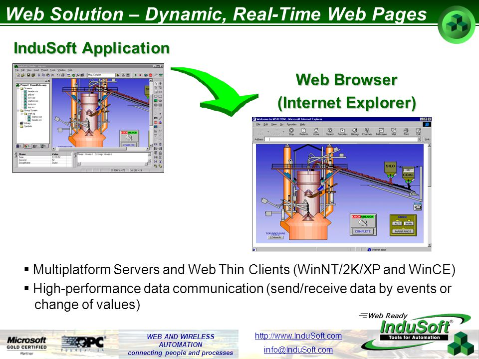 WEB AND WIRELESS AUTOMATION connecting people and processes http://www.InduSoft.com info@InduSoft.com Web Solution – What is the Web Thin Client Uses a regular WEB Browser (Internet Explorer) to host the application.