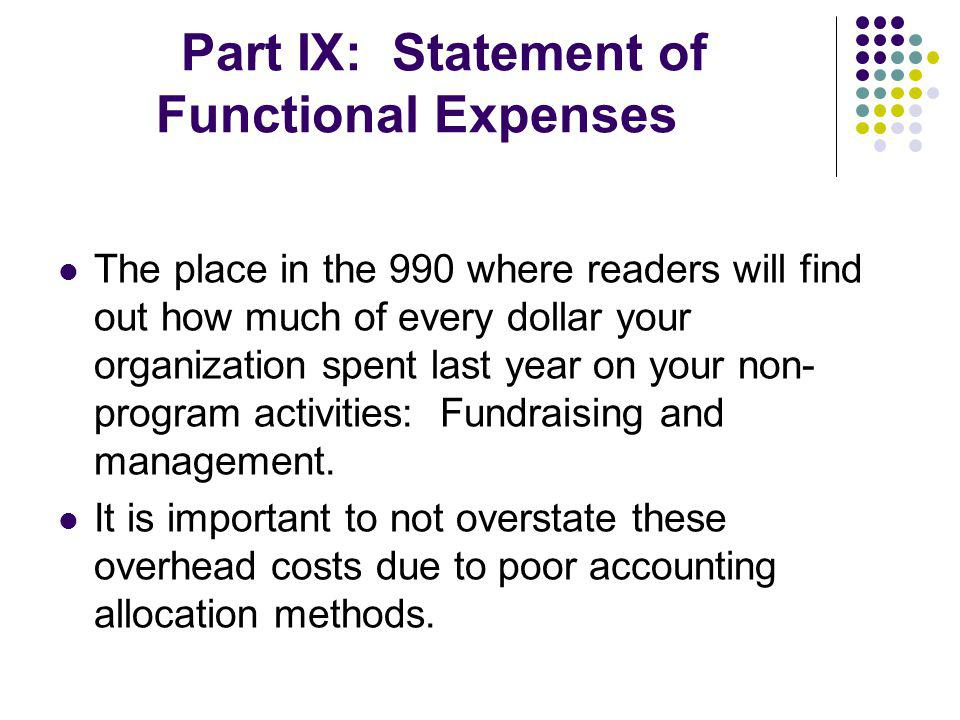 Part IX: Statement of Functional Expenses The place in the 990 where readers will find out how much of every dollar your organization spent last year