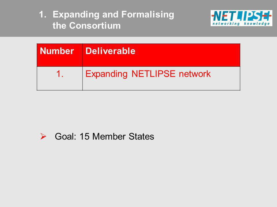 1.Expanding and Formalising the Consortium NumberDeliverable 1.Expanding NETLIPSE network Goal: 15 Member States