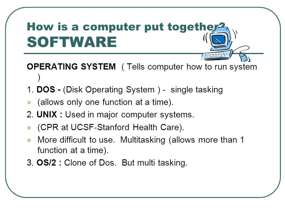 How is a computer put together. SOFTWARE OPERATING SYSTEM ( Tells computer how to run system ) 1.