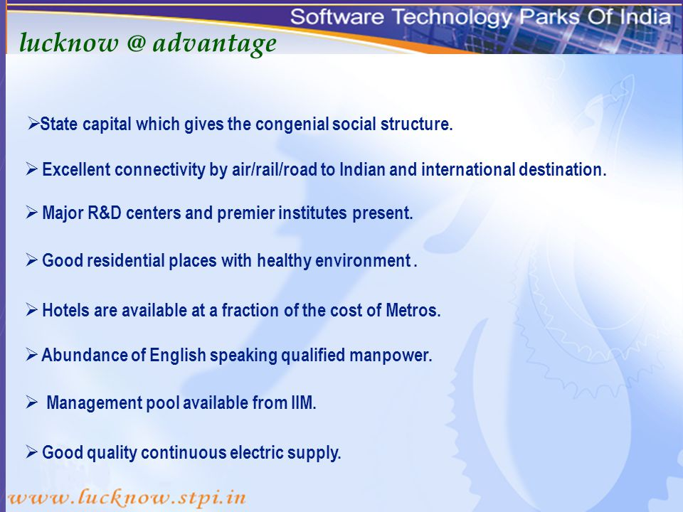 STPI LUCKNOW An ideal destination for software export & bio IT.