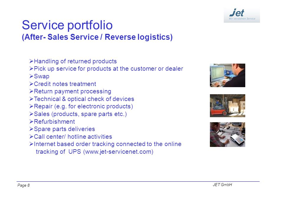 Service portfolio (After- Sales Service / Reverse logistics) Handling of returned products Pick up service for products at the customer or dealer Swap