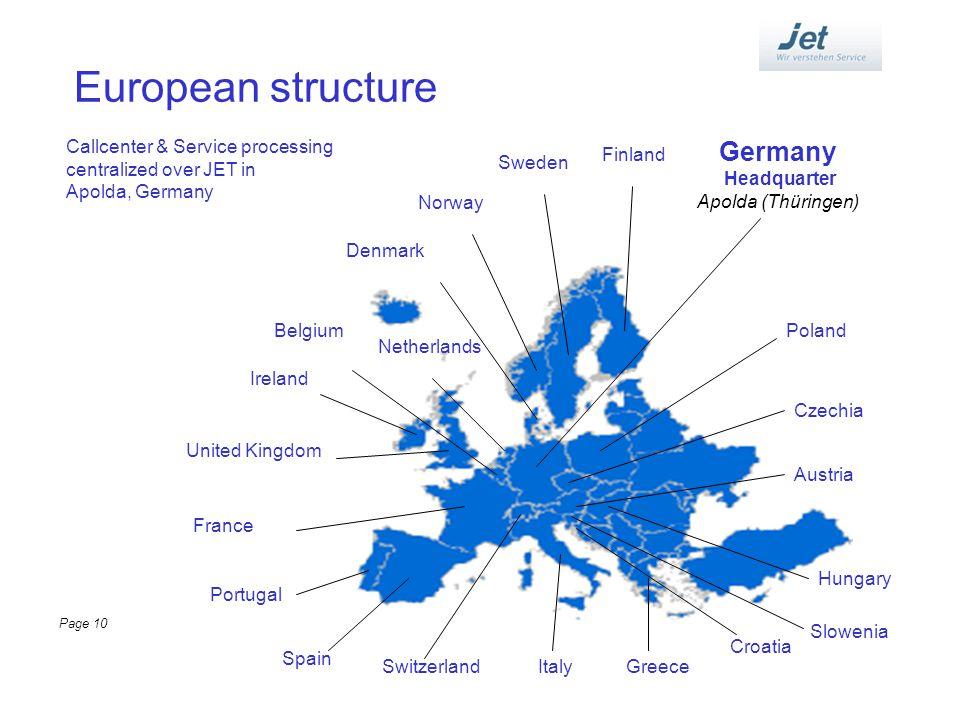 European structure Germany Headquarter Apolda (Thüringen) Denmark Netherlands Belgium Ireland United Kingdom France Portugal Spain SwitzerlandItaly Au