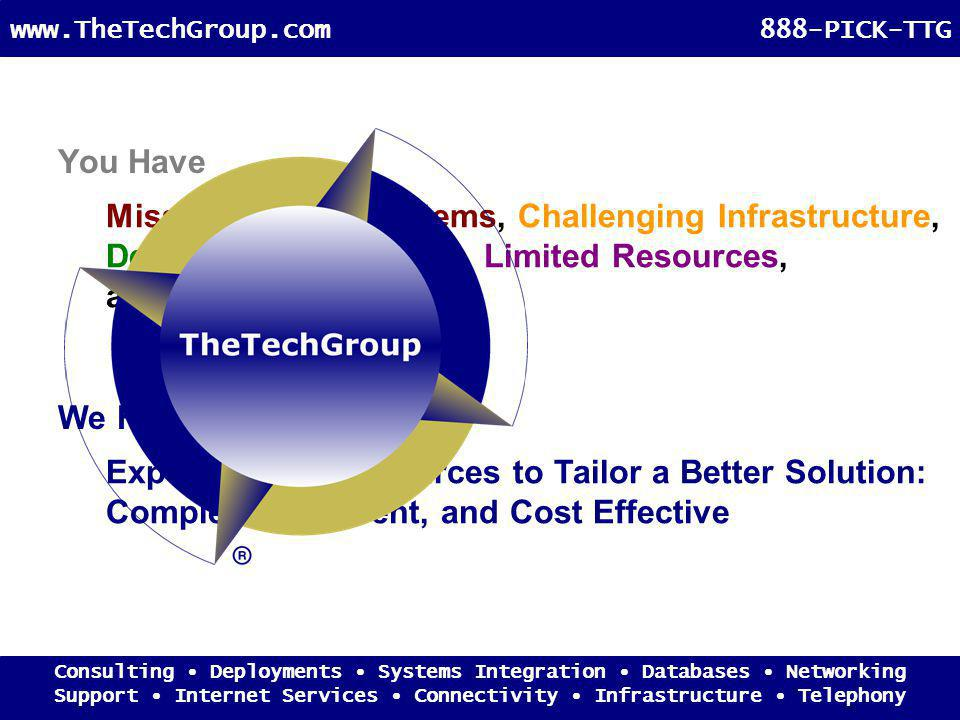 You Have Expertise and Resources to Tailor a Better Solution: Complete, Coherent, and Cost Effective Mission Critical Systems, Challenging Infrastructure, Demanding Objectives, Limited Resources, and Too Many Vendors We Have Consulting Deployments Systems Integration Databases Networking Support Internet Services Connectivity Infrastructure Telephony www.TheTechGroup.com888-PICK-TTG