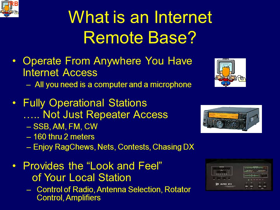 What is an Internet Remote Base? Operate From Anywhere You Have Internet Access –All you need is a computer and a microphone Fully Operational Station