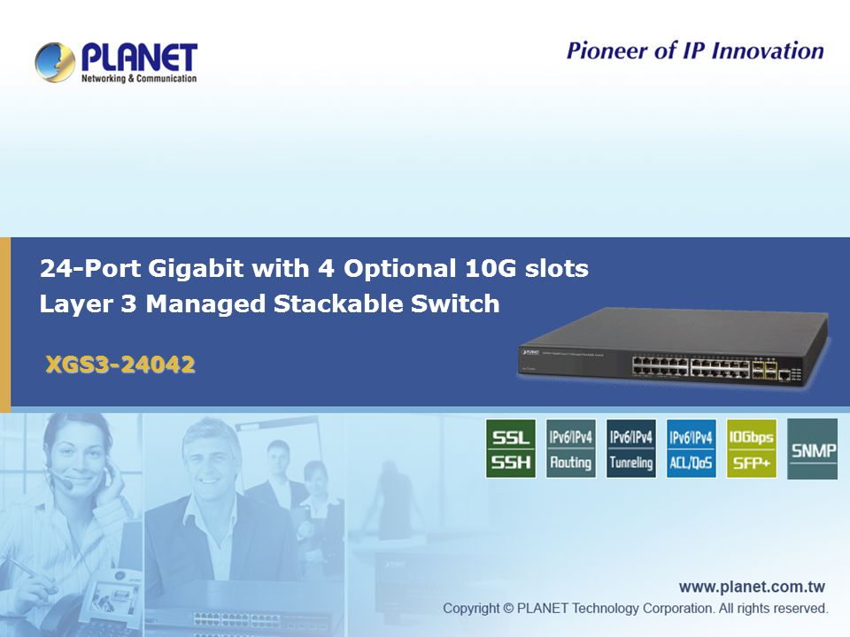24-Port Gigabit with 4 Optional 10G slots Layer 3 Managed Stackable Switch XGS3-24042