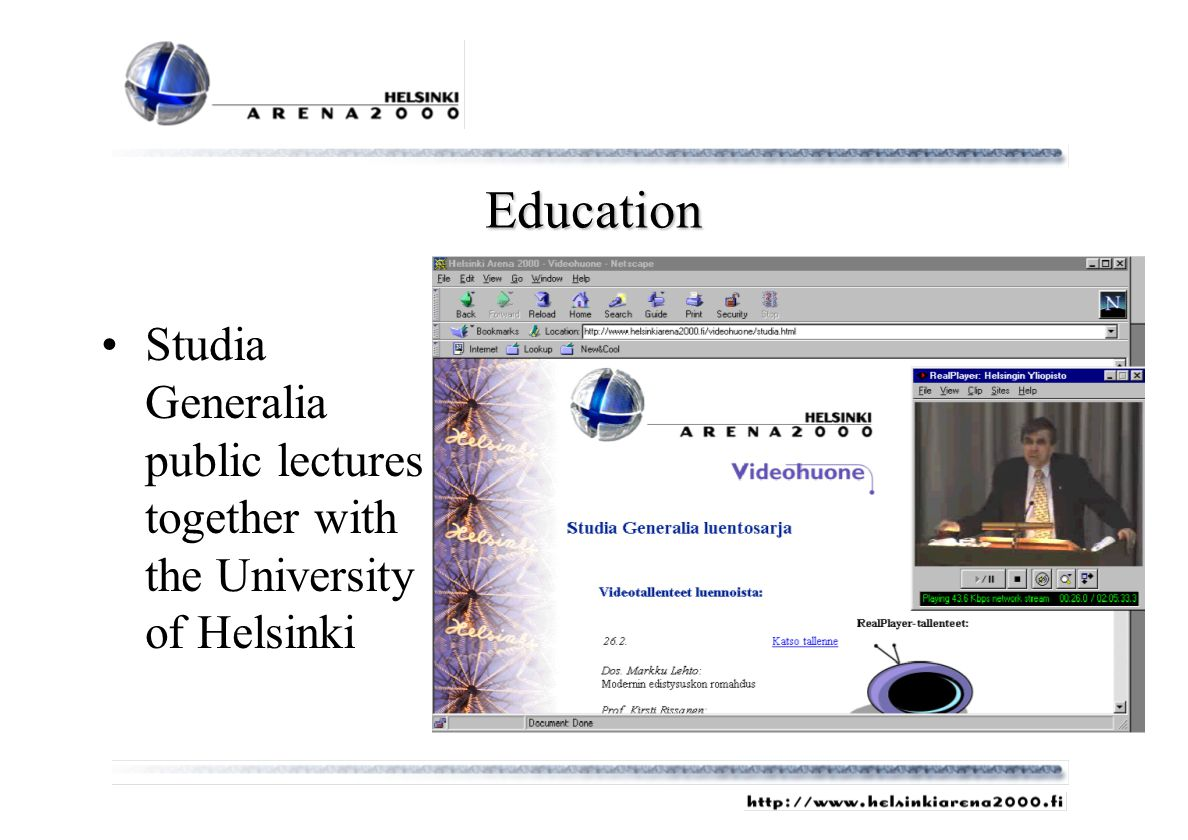 Education Studia Generalia public lectures together with the University of Helsinki