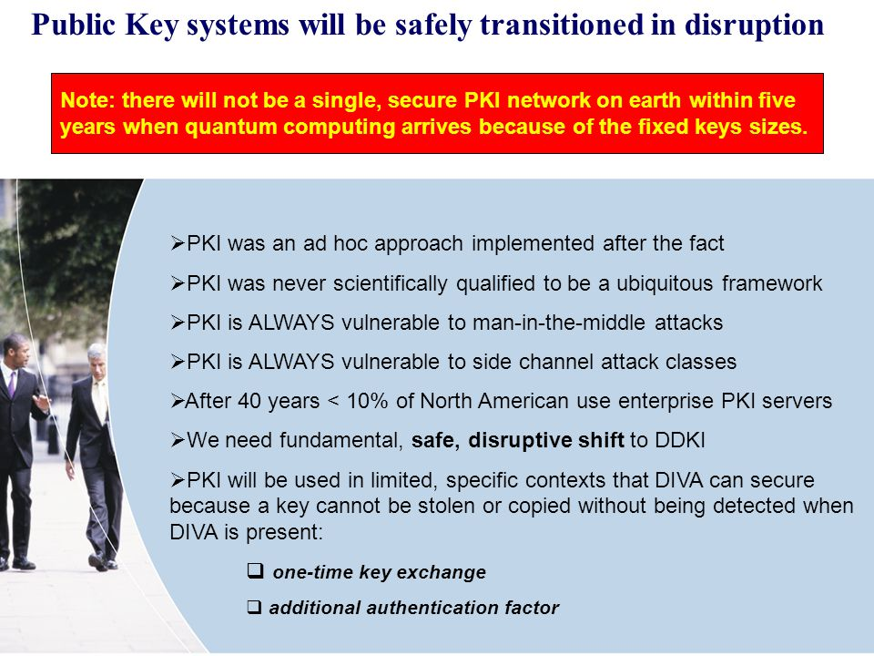 Public Key systems will be safely transitioned in disruption PKI was an ad hoc approach implemented after the fact PKI was never scientifically qualified to be a ubiquitous framework PKI is ALWAYS vulnerable to man-in-the-middle attacks PKI is ALWAYS vulnerable to side channel attack classes After 40 years < 10% of North American use enterprise PKI servers We need fundamental, safe, disruptive shift to DDKI PKI will be used in limited, specific contexts that DIVA can secure because a key cannot be stolen or copied without being detected when DIVA is present: one-time key exchange additional authentication factor Note: there will not be a single, secure PKI network on earth within five years when quantum computing arrives because of the fixed keys sizes.