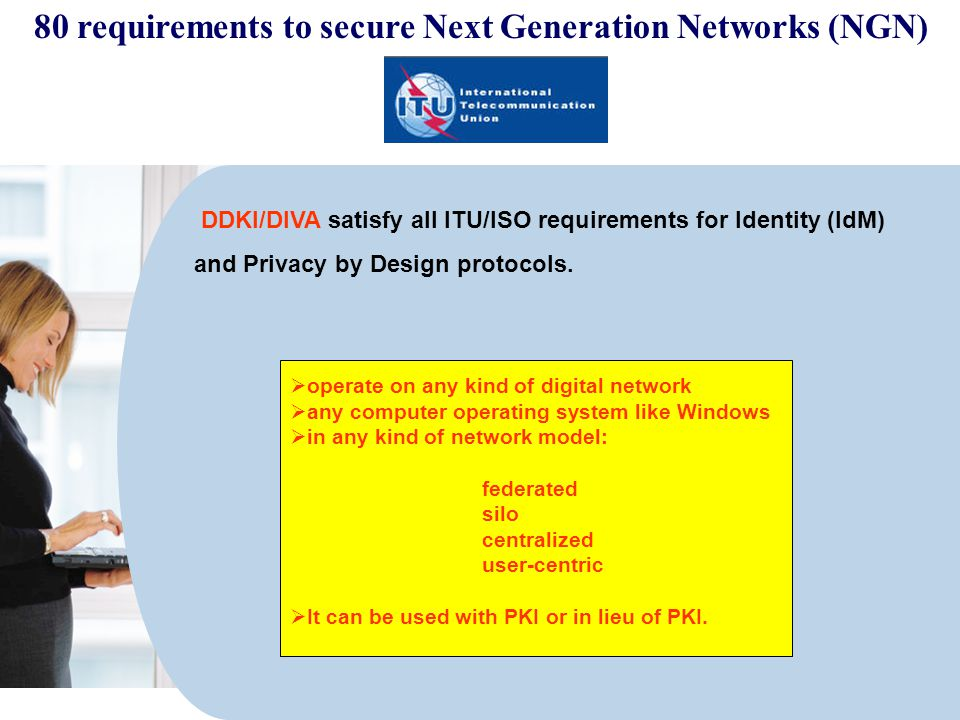 DDKI/DIVA satisfy all ITU/ISO requirements for Identity (IdM) and Privacy by Design protocols.