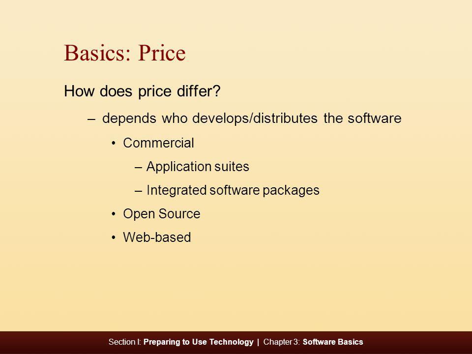 Section I: Preparing to Use Technology | Chapter 3: Software Basics Basics: Price How does price differ? –depends who develops/distributes the softwar