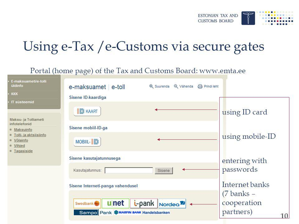 10 Using e-Tax /e-Customs via secure gates using ID card using mobile-ID entering with passwords Internet banks (7 banks – cooperation partners) Porta