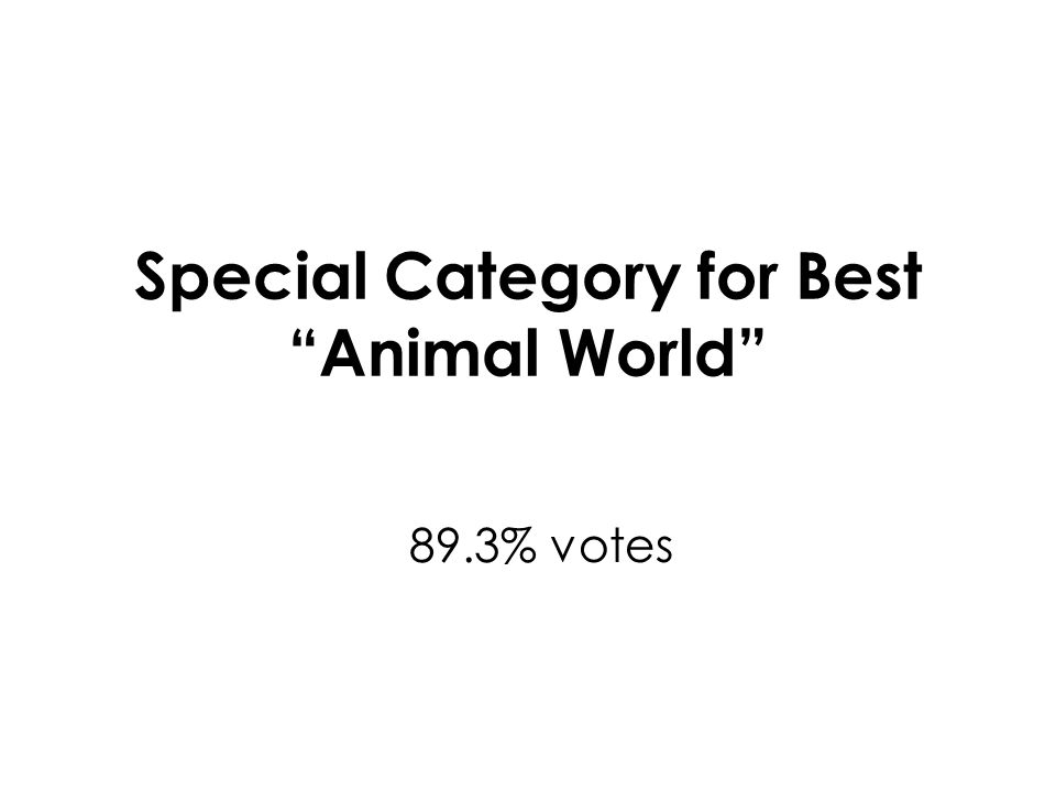 Special Category for Best Animal World 89.3% votes