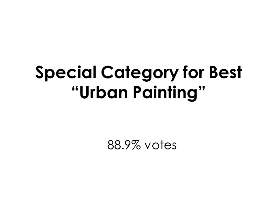 Special Category for Best Urban Painting 88.9% votes