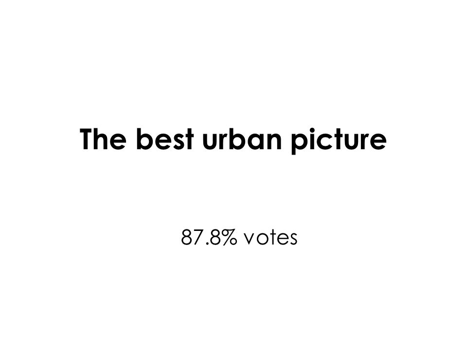 The best urban picture 87.8% votes