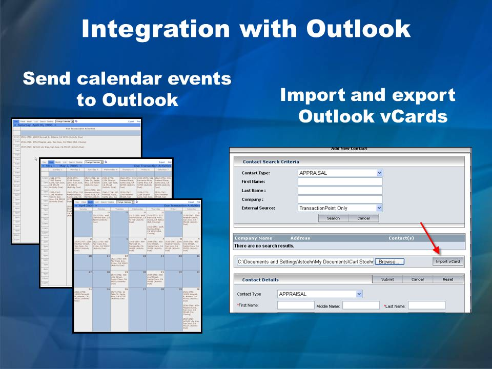 Send calendar events to Outlook Import and export Outlook vCards Integration with Outlook
