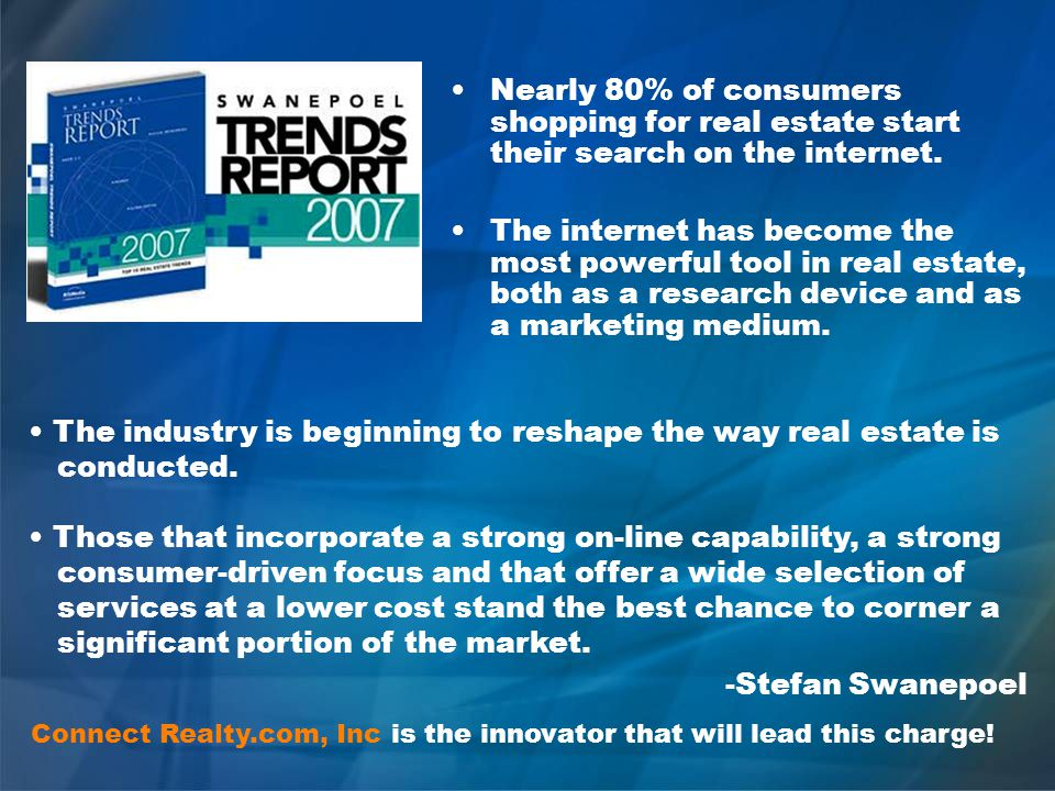 Nearly 80% of consumers shopping for real estate start their search on the internet.