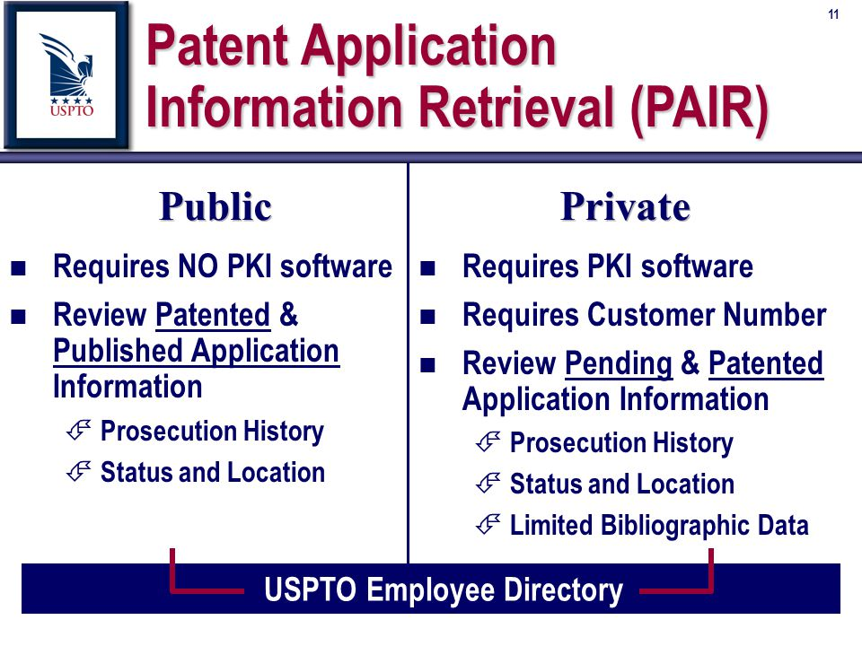 11 Public n Requires NO PKI software n Review Patented & Published Application Information É Prosecution History É Status and Location Private n Requires PKI software n Requires Customer Number n Review Pending & Patented Application Information É Prosecution History É Status and Location É Limited Bibliographic Data USPTO Employee Directory Patent Application Information Retrieval (PAIR)