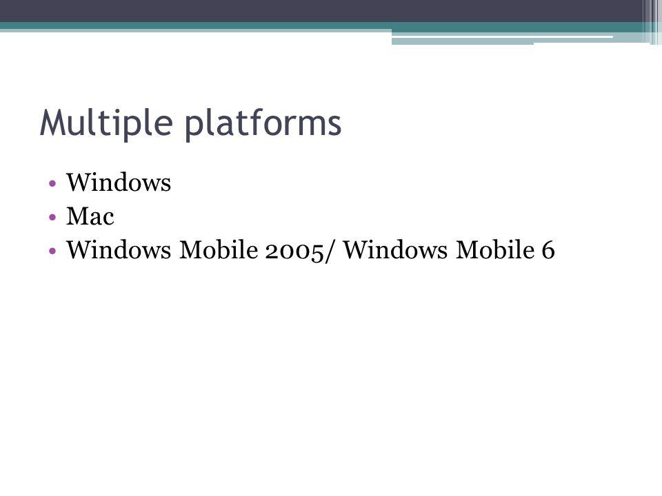 Multiple platforms Windows Mac Windows Mobile 2005/ Windows Mobile 6
