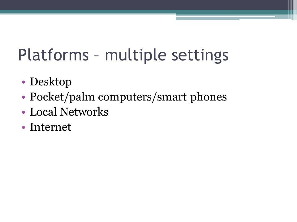 Platforms – multiple settings Desktop Pocket/palm computers/smart phones Local Networks Internet