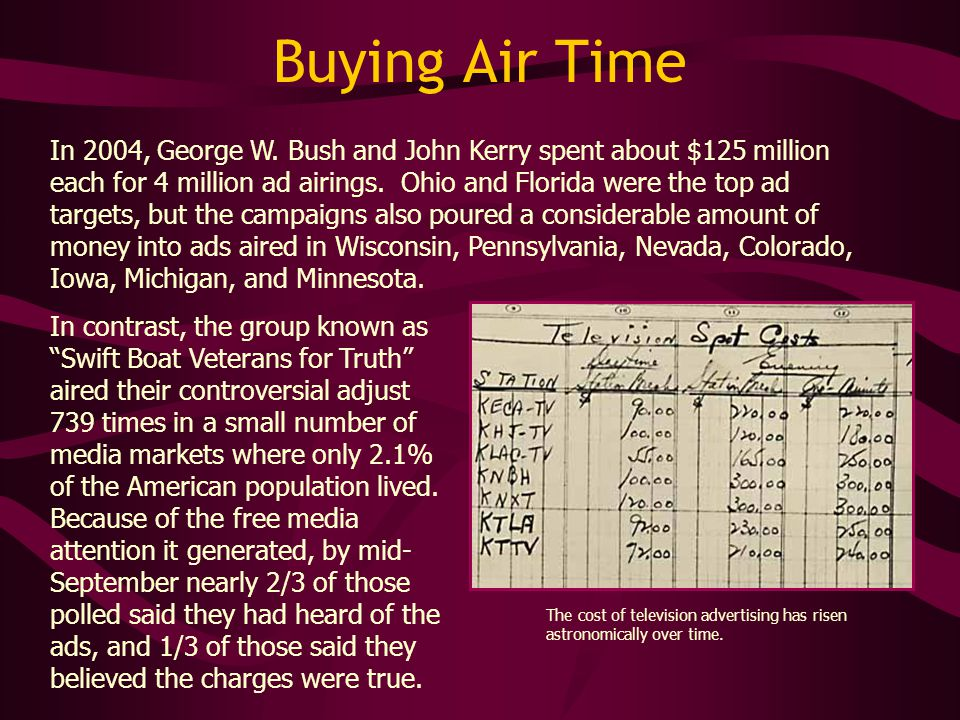 Buying Air Time In 2004, George W.