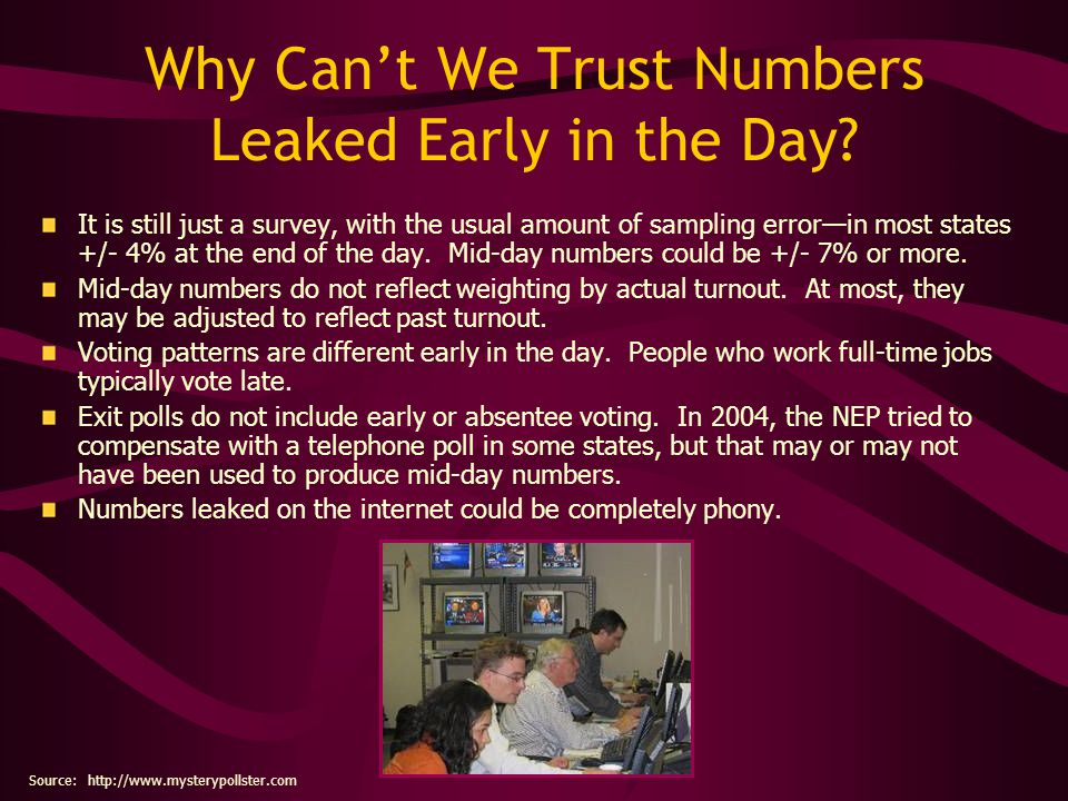Why Cant We Trust Numbers Leaked Early in the Day? It is still just a survey, with the usual amount of sampling errorin most states +/- 4% at the end