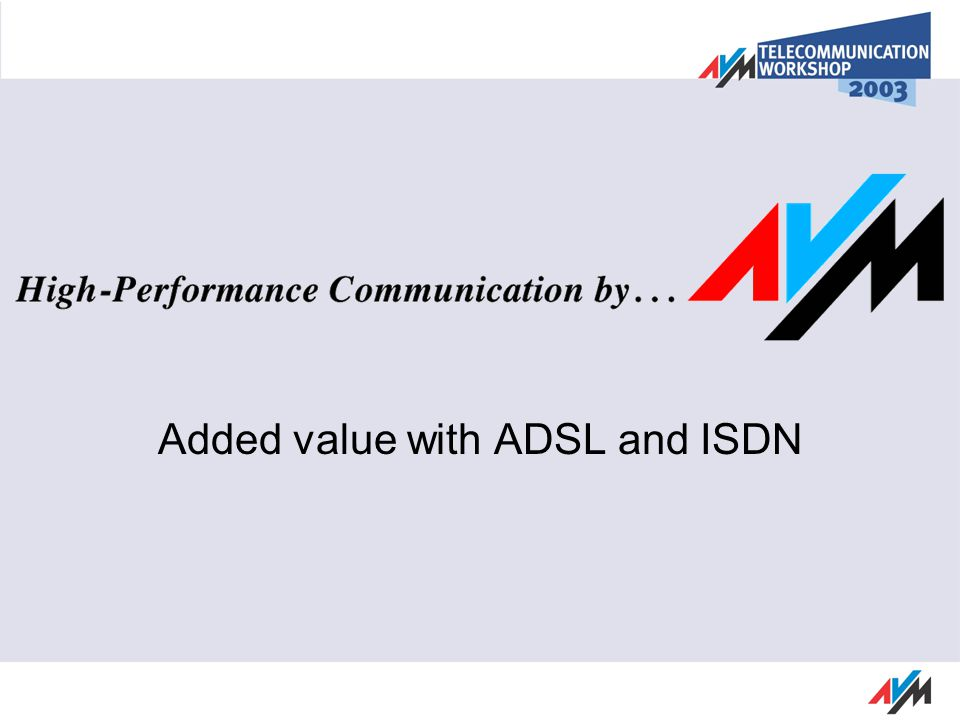 ADSL, How it works Usage of existing Telephone Network Data transfers in upper Frequency Range ADSL upstream ADSL downstream f ISDN 120 kHz138 kHz276 kHz1.104 kHz