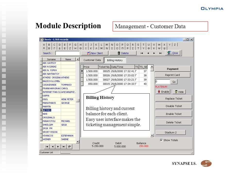 SYNAPSE I.S. Module Description Management - Customer Data Billing History Billing history and current balance for each client. Easy user interface ma