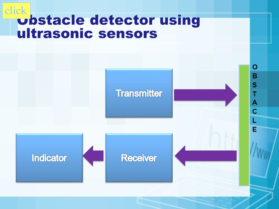 Obstacle detector using ultrasonic sensors click