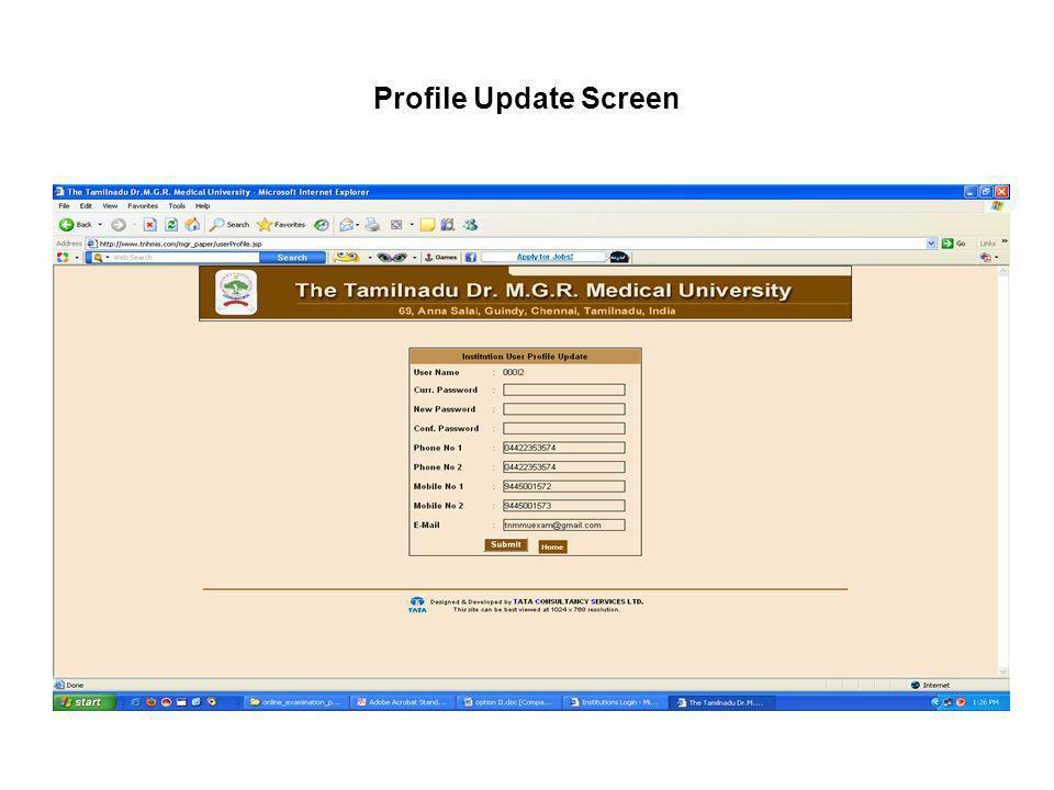 Profile Update Screen