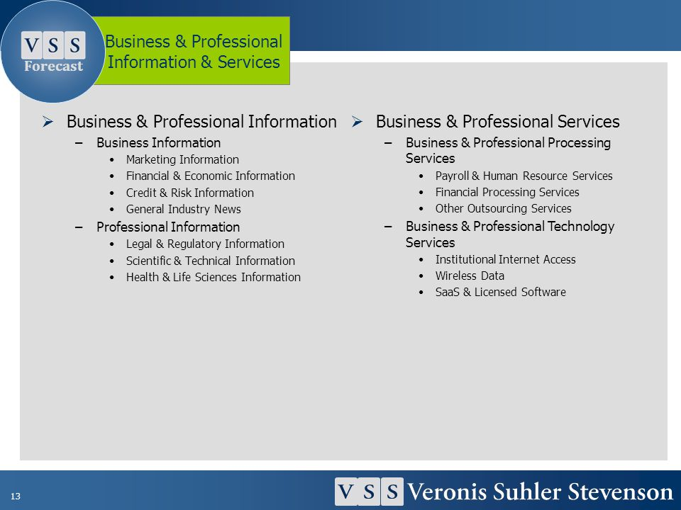 13 Business & Professional Information –Business Information Marketing Information Financial & Economic Information Credit & Risk Information General